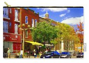 Jos Pappos Furs Street Scene Suburban Shops And Store Fronts Sherbrooke Montreal Carole Spandau Art  Carry-all Pouch