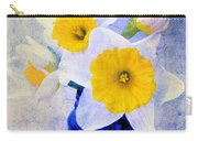Just Plain Daffy 2 In Blue - Flora - Spring - Daffodil - Narcissus - Jonquil  Carry-all Pouch