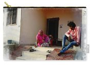 Just Sitting 3 - Family Portrait - Indian Village Rajasthani Carry-all Pouch