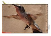 Juvenile Broadtale Anna Hummingbird Landing On The Perch Carry-all Pouch