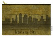 Kansas City Missouri City Skyline Silhouette Distressed On Worn Peeling Wood Carry-all Pouch