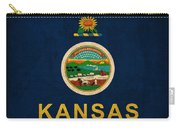 Kansas State Flag Art On Worn Canvas Carry-all Pouch