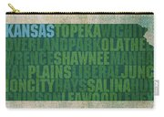 Kansas Word Art State Map On Canvas Carry-all Pouch