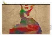 Katniss Everdeen From Hunger Games Jennifer Lawrence Watercolor Portrait On Worn Parchment Carry-all Pouch
