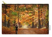 Kid With Backpack Walking In Fall Colors Carry-all Pouch