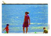 Kids Playing On The Seashore Mom And Little Boys Pointe Claire Montreal Waterscene Carole Spandau Carry-all Pouch