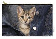 Kitten In Jean Jacket Carry-all Pouch