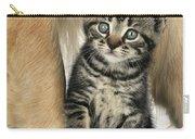 Kitten With Golden Retriever Carry-all Pouch
