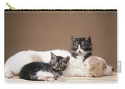 Kittens Lying With Puppy Carry-all Pouch