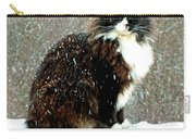 Kittycat In The Snow On The Fence Carry-all Pouch