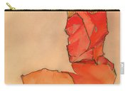 Kneeling Female In Orange-red Dress Carry-all Pouch