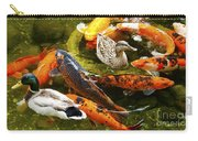 Koi Fish In Pond Swimming With Two Mallard Ducks Carry-all Pouch
