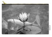 Koi Pond With Lily Pad And Flower Black And White Carry-all Pouch