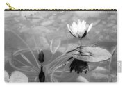 Koi Pond With Lily Pad Flower And Bud Black And White Carry-all Pouch
