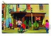 Kusmi Tea And Sandwich Shop St Viateur Corner St Urbain Montreal Summer City Scene  Carole Spandau Carry-all Pouch