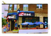 La Chic Regal Pointe St Charles Blue Umbrellas On The Terrace Montreal Pub Scene Carole Spandau Carry-all Pouch