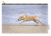 Labrador Dog Chasing Ball On Beach Carry-all Pouch