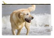 Labrador Dog Playing On Beach Carry-all Pouch
