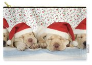 Labrador Puppy Dogs Wearing Christmas Carry-all Pouch