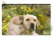 Labrador Puppy Playing With Parent Carry-all Pouch
