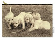 Labrador Retriever Puppies And Feather Vintage Carry-all Pouch