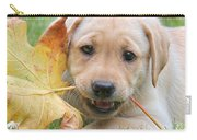 Labrador Retriever Puppy With Autumn Leaf Carry-all Pouch