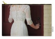 Lady In Edwardian Dress Opening A Door Carry-all Pouch