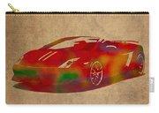 Lamborghini Gallardo 2013 Classic Sports Car Watercolor On Worn Distressed Canvas Carry-all Pouch