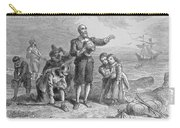 Landing Of The Pilgrims, 1620, Engraved By A. Bollett, From Harpers Monthly, 1857 Engraving B&w Carry-all Pouch