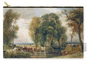 Landscape Cattle In A Stream With Sluice Gate Carry-all Pouch