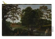 Landscape With A Courtly Procession Before Abtspoel Castle Carry-all Pouch by Esaias I van de Velde