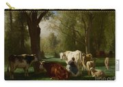 Landscape With Cattle And Sheep Carry-all Pouch