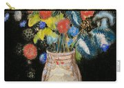 Large Bouquet On A Black Background Carry-all Pouch by Odilon Redon