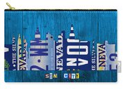 Las Vegas Nevada City Skyline License Plate Art On Wood Carry-all Pouch by Design Turnpike