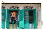 Laundry Hanging Seen Through Open Wood Shutter Windows Singapore Carry-all Pouch
