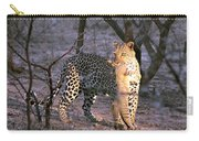 Leopard With African Wild Cat Kill Carry-all Pouch