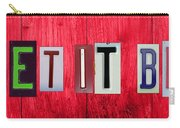 Let It Be License Plate Letter Vintage Phrase Word Artwork On Red Wood Carry-all Pouch