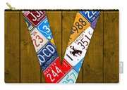 Letter V Alphabet Vintage License Plate Art Carry-all Pouch