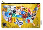 License Plate Art Map Of The United States On Yellow Board Carry-all Pouch by Design Turnpike