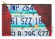 License Plate Map Of Missouri - Show Me State - By Design Turnpike Carry-all Pouch by Design Turnpike