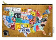 License Plate Map Of The United States On Burnt Orange Slab Carry-all Pouch by Design Turnpike