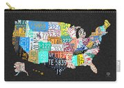 License Plate Map Of The United States On Gray Felt With Black Box Frame Edition 14 Carry-all Pouch