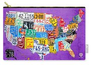 License Plate Map Of The United States On Vibrant Purple Slab Carry-all Pouch by Design Turnpike