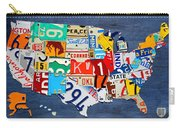 License Plate Map Of The United States - Small On Blue Carry-all Pouch