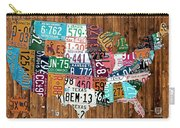 License Plate Map Of The United States - Warm Colors On Pine Board Carry-all Pouch by Design Turnpike