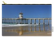 Life Guard Station Reflection On Ocean Sand At Huntington Beach City Pier Fine Art Photography Print Carry-all Pouch