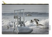 Lifeguard Station With Flying Gulls At A Lake Huron Beach Carry-all Pouch