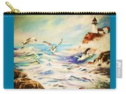 Lighthouse Gulls And Waves Carry-all Pouch