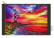Lighthouse - Palette Knife Oil Painting On Canvas By Leonid Afremov Carry-all Pouch