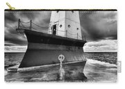 Lighthouse Reflection Black And White Carry-all Pouch